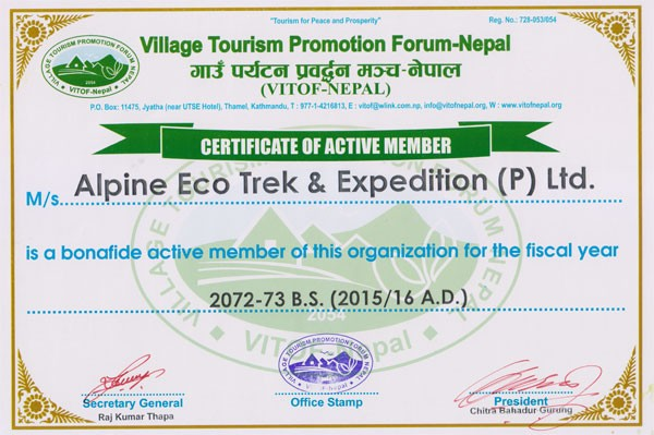 Certificate from village tourism