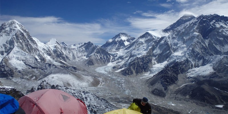 Everest Base Camp with climbers tents