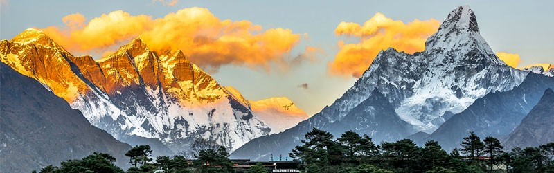 Panoramic view of Mount Everest from Everest view hotel