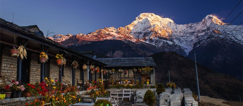 Ghandruk village with Mount Annapurna South and Himchuli
