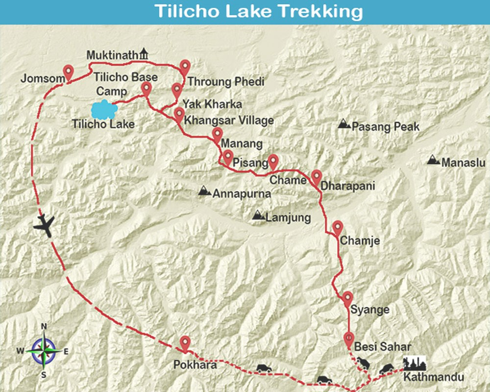 Tilicho Lake Base Camp Trek 2021 map